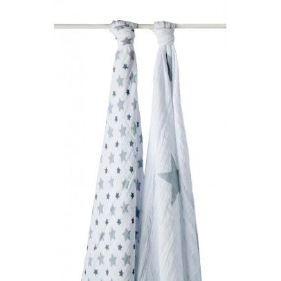 aden   anais Pack of 2 Grey Stars Maxi Swaddle `One size Details : Cotton Muslin * Composition : 100% Cotton Muslin * Multi use: pushchair, cover, bib, mat to stimulate the senses, Breathable: prevents overheating, Large format makes swaddling easy * 120 x  http://www.MightGet.com/january-2017-13/aden- -anais-pack-of-2-grey-stars-maxi-swaddle-one-size.asp
