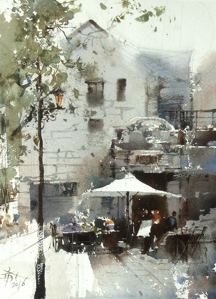 "The Shanghai xintiandi sketching / Plein Air Shanghai. ] 27 x 37 cm , Watercolor demo by Chien Chung Wei. ""Quick to paint, you can avoid falling into too many boring trap of details, and will let you watch the more comprehensive, get more surprises."
