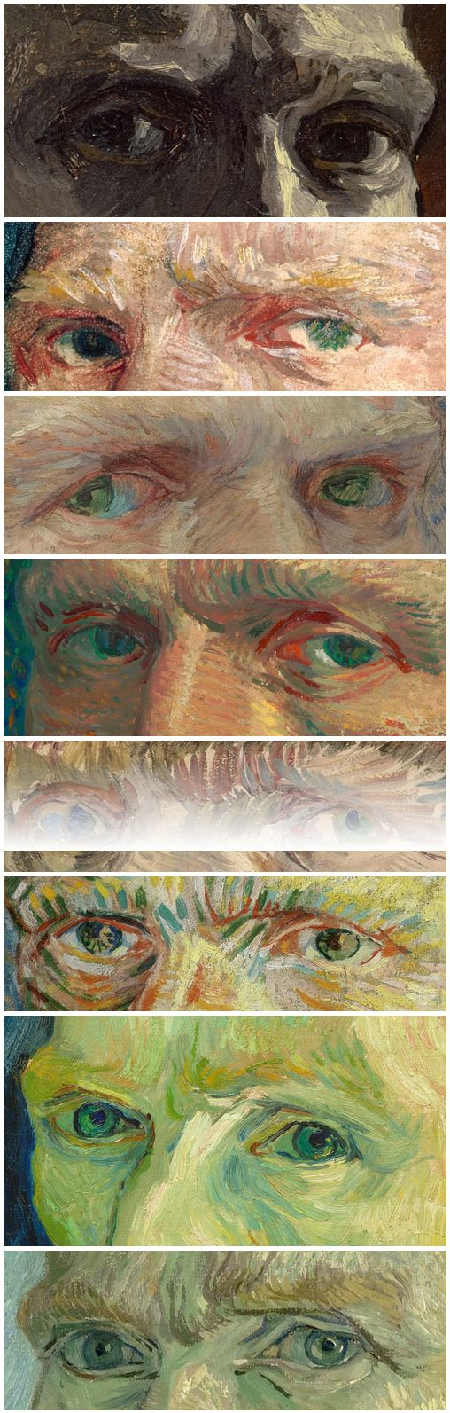 Les yeux de Vincent van Gogh: Self Portraits,  1886-1889 ✏✏✏✏✏✏✏✏✏✏✏✏✏✏✏✏  ARTS ET PEINTURES - ARTS AND PAINTINGS  ☞ https://fr.pinterest.com/JeanfbJf/pin-peintres-painters-index/ ══════════════════════  Gᴀʙʏ﹣Fᴇ́ᴇʀɪᴇ BIJOUX  ☞ https://fr.pinterest.com/JeanfbJf/pin-index-bijoux-de-gaby-f%C3%A9erie-par-barbier-j-f/ ✏✏✏✏✏✏✏✏✏✏✏✏✏✏✏✏