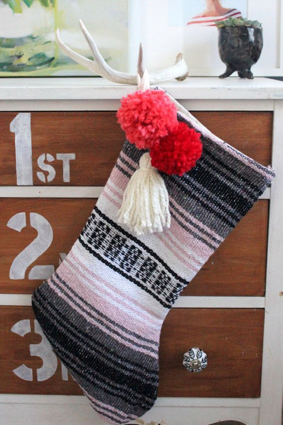 Buffalo Gals Co. Offers Southwest Bohemian Stockings at https://www.etsy.com/listing/260651945/light-pink-mexican-blanket-stocking-with