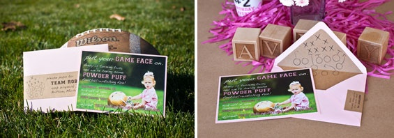 Avery's Powder Puff Football Birthday Party Invitations! @MJ Paperie