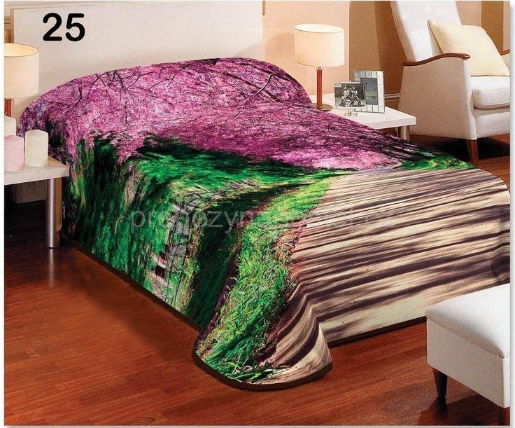 Přikrývky na jednolůžko zeleno růžové barvy s motivem aleje