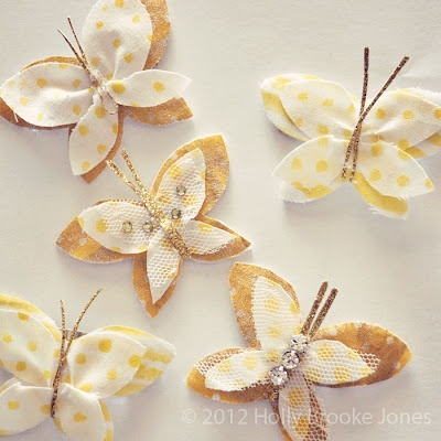 Yellow & Gold butterfly hair clips & pins.