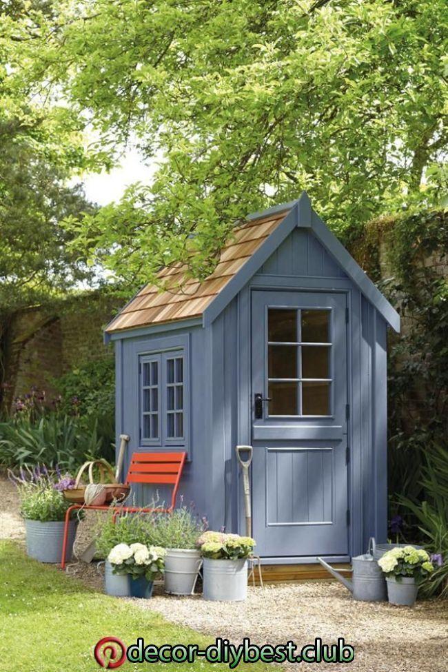 Gartenhaus in Blau gartenhaus gartenbank gartenge… in