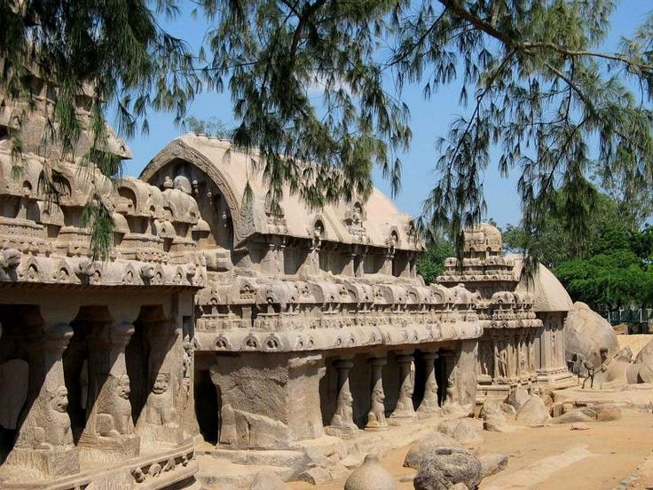 Pancha Rathas monolith rock-cut temple, late 7th century. A view of the 'Five Rathas' at Mamallapuram. It uses the basic form of monolithic architecture which is a rock-cut building from a single piece of rock.  Photo Venu62