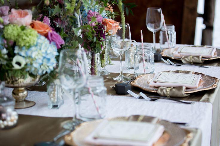 Blush and Gold. Photo by: Emily Exon Photography  www.emilyexon.com Flowers by: Flowers by Janie www.flowersbyjanie.com Venue: Azuridge Estate Hotel, Calgary/AB  Rentals/Decor: Great Events Rentals www.greateventsrentals.com Stationary by: Glimpze Invitations www.glimpze.ca #events #weddings #chargers #masonjars #drinkingjar #gold #blush #lace #barnwedding #rustic #romance #weddingdecor