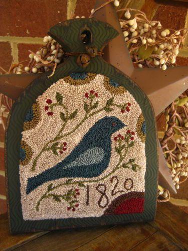 Primitive Punch Needle Bluebird Hornbook Folk Art | eBay