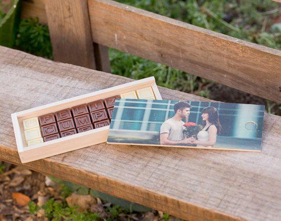 Chocomensaje con tapa de madera personalizada