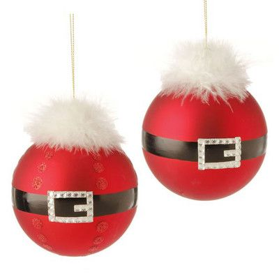 "RAZ Santa Belt Ball Christmas Ornament Set of 2  2 Assorted ball ornaments Set includes one of each style Red, Black, White Made of Glass Measures 4.5""    RAZ 2014 To Be Jolly Collection  #trendytree #raz"