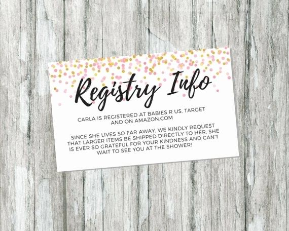 Baby Registry Announcement Cards Template Awesome Shower Gift Registry Card Pink And Gold Baby Shower Baby Registry Cards Registry Cards Gift Registry Cards