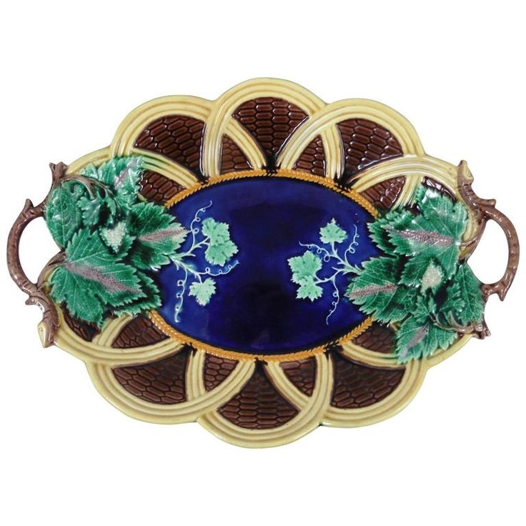 19th Majolica Wedgwood Handled Basket Platter | From a unique collection of antique and modern platters and serveware at https://www.1stdibs.com/furniture/dining-entertaining/platters-serveware/