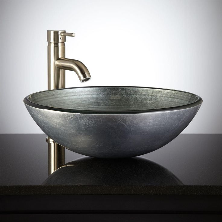 Silver Glass Vessel Sink