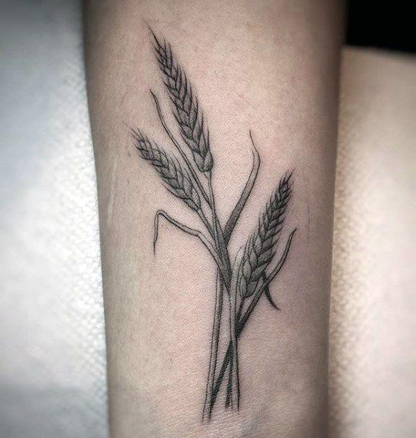 Detailed Shaded Male Wheat Wrist Tattoos