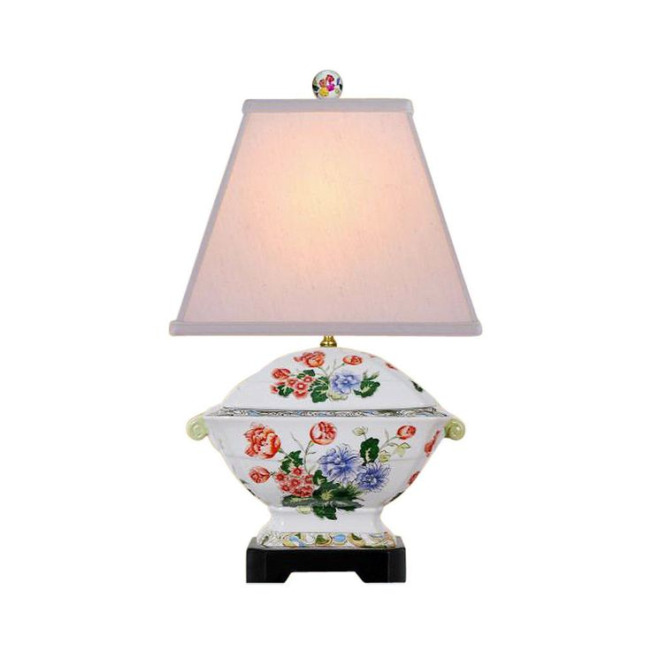 """Cute Floral Chinese Porcelain Tureen Table Lamp 18.5"""""""