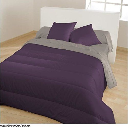 Bleu Câlin RM40H220M1 couette couvre-lit microfibre coloris violet mûre/poivre gris 220 x 240 cm