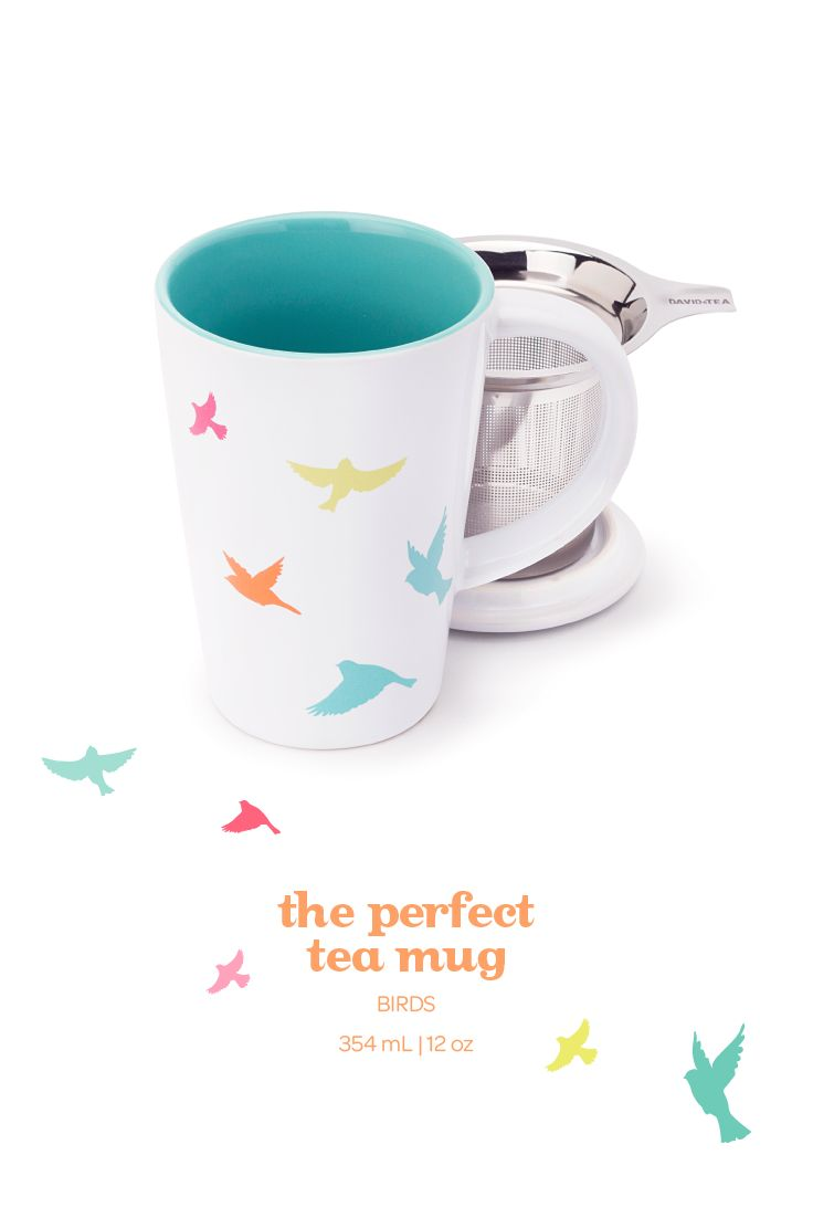 With its pretty bird design, this infuser mug is sure to brighten your day.