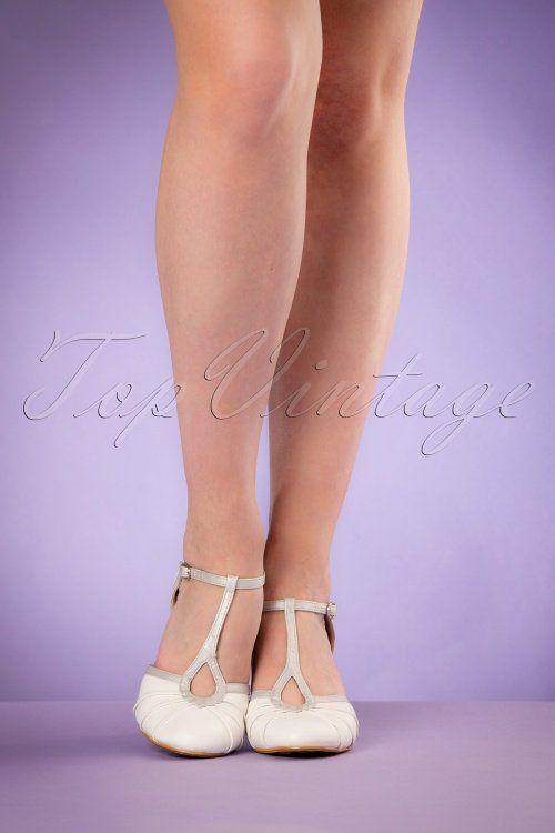 Bettie Page Shoes Eris White T strap Pumps 401 50 19948 02232017 006W