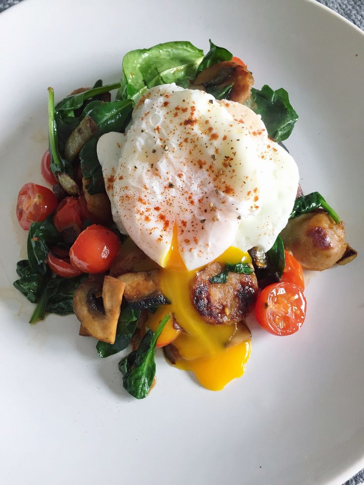 Poached Eggs over Sweet Apple Chicken Sausgae, Mushrooms, Spinach and Tomatoes