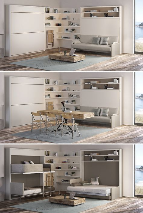Transforming vacation home by Resource Furniture! This features the Lollisoft bunk bed system, Cristallo expanding coffee table and Circe sofa wall bed system. #vacationhome #savespace