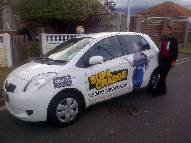 "Janine: ""My moving billboard thanks to Brandyourcar.com and Cell C.....get your new Cell C SupaCharged sim card now for great savings!!!"""