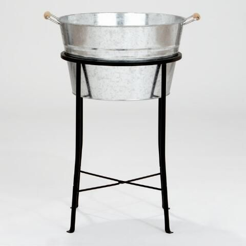 Galvanized Party Tub | World Market - Kids can decorate the tub with paint and baubles. Tub is $17, we could even put some goodies in it.