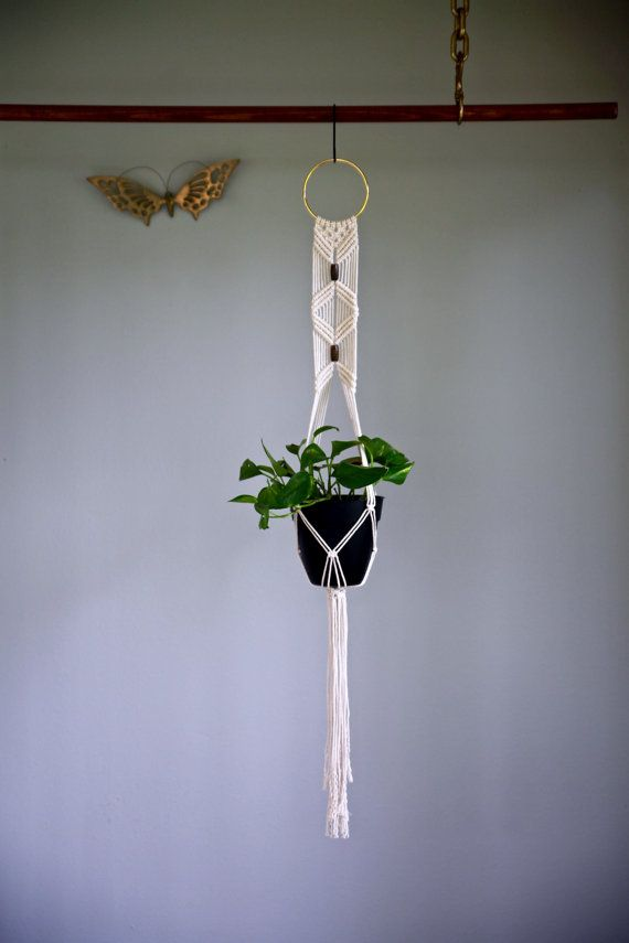 Macrame Plant Hanger 45 Quot Natural White Cotton W Brass