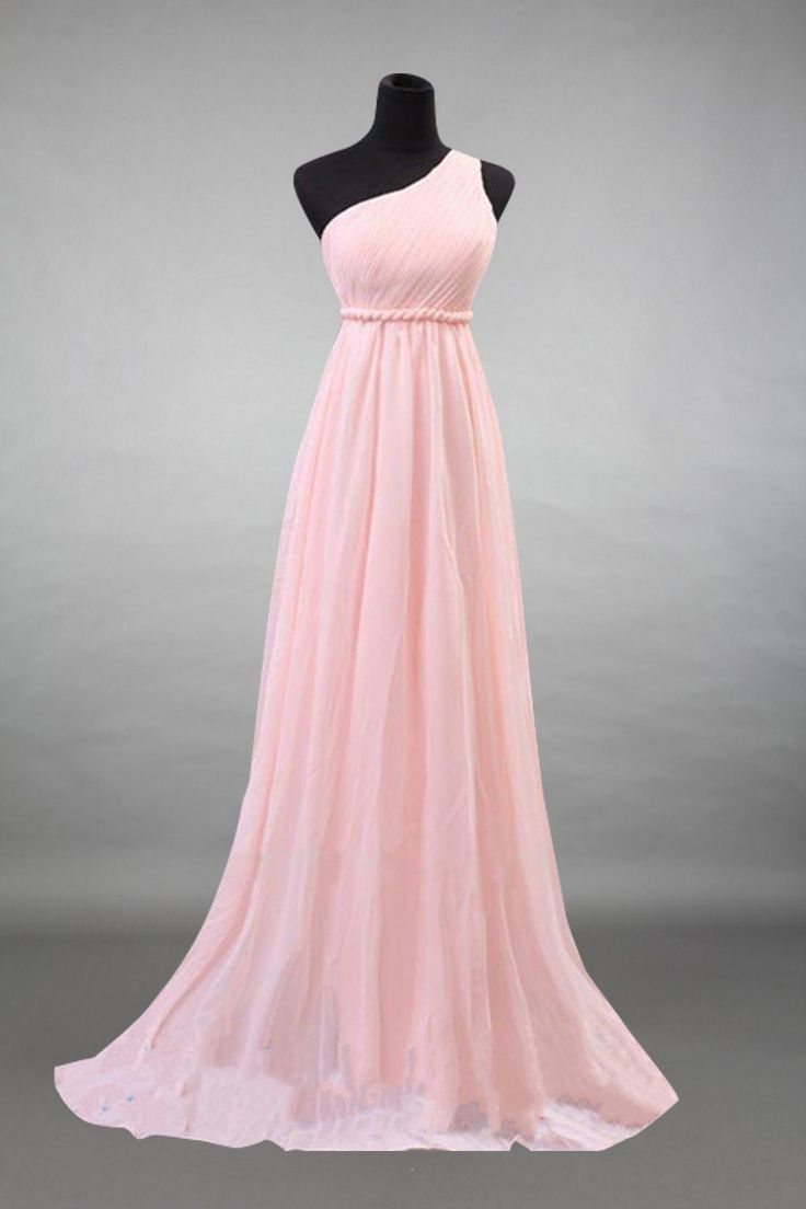 One Shoulder Baby Pink Chiffon Long Bridesmaid Dress In