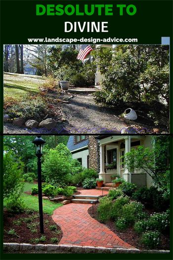 This front yards landscape went from pretty bleak to fabulous. New walk was created while some existing front yard plants were kept and others are new. Learn more about front yard designs and how I can create a beautiful design for you no matter where you live.