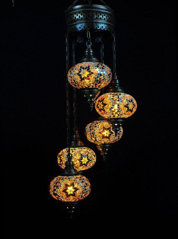 Oosterse Mozaiek Lamp Bruin 5 Bollen Oosterse Lampen Turkse Lampen Lampen Mozaiek