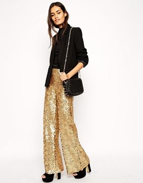 ASOS Premium - Pantalon large à sequins