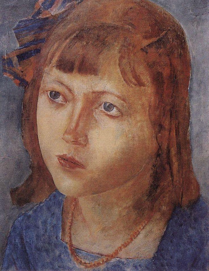 Head of a girl  - Kuzma Petrov-Vodkin