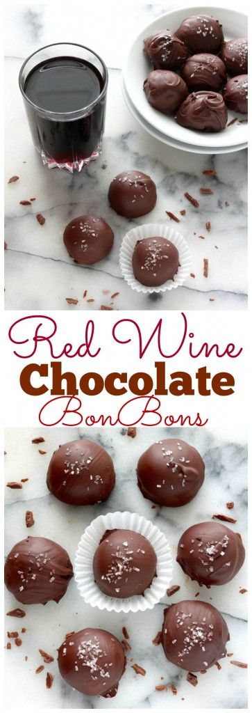 Red Wine Chocolate BonBons - Homemade Chocolate Bonbons spiked with a hearty dash of red wine! These are incredible!!!