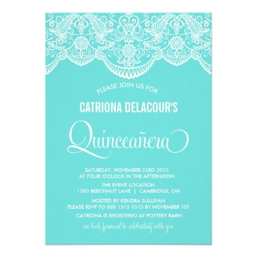 Tiffany Invitations | Tiffany Blue Moroccan Lace Quinceañera Invitation