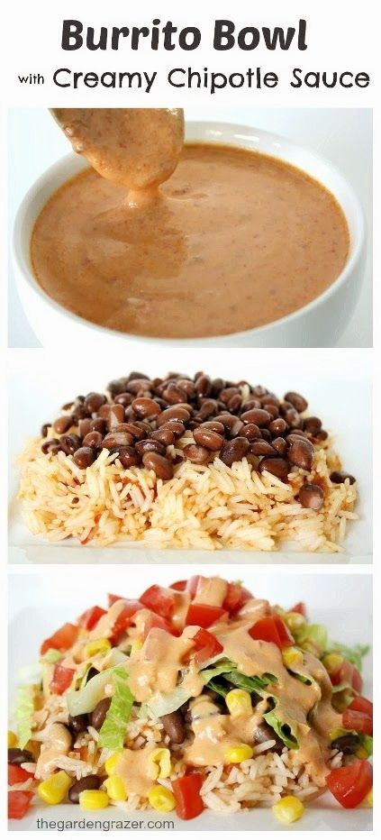 Bean and Veggie Burrito Bowl with Creamy Chipotle Sauce