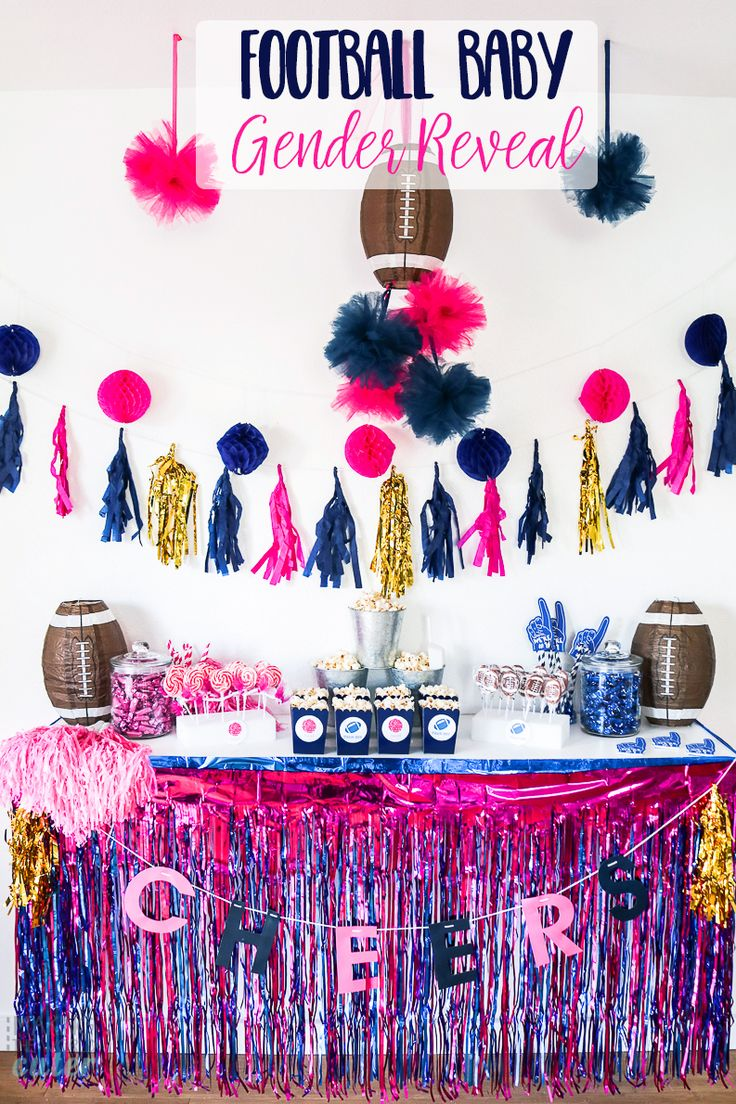 How To Throw An Amazing Football Baby Gender Reveal Party : Cheerleader or Quarterback? Tutus or Touchdowns? Super cute! http://makingtheworldcuter.com/2017/01/football-baby-gender-reveal/