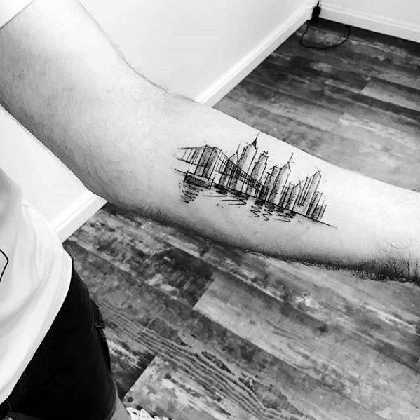 60 New York Skyline Tattoo Designs For Men Big Apple Ink Ideas Skyline Tattoo Best Sleeve Tattoos Tattoos