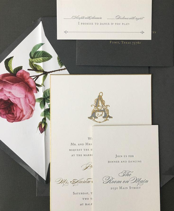 Romantic Roses monogram blooms roses swipeleft weddinginvitation