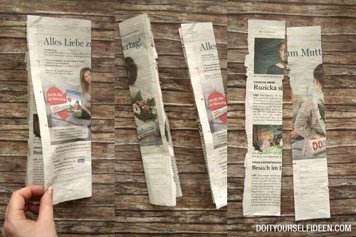 I➨ Stapelt sich zu Hause schon das Altpapier? Upcycle it!! Hier findest du eine Anleitung für einen Korb aus Zeitungspapier.