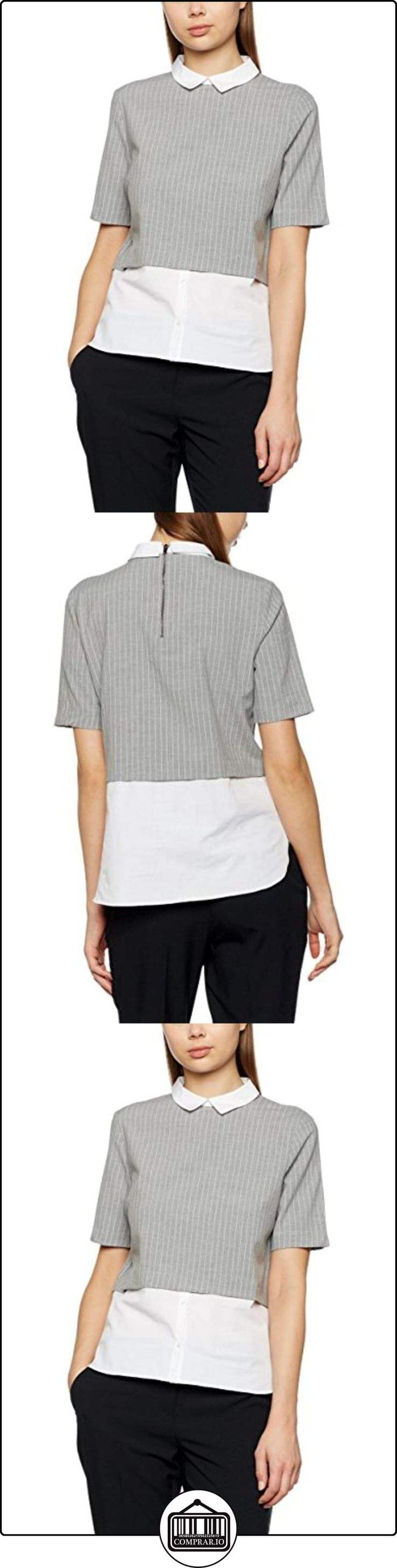 Mexx Women Blouse Short Sleeve, Blusa para Mujer, Grau (Wet Weather Melange 162), Medium  ✿ Blusas y camisas ✿