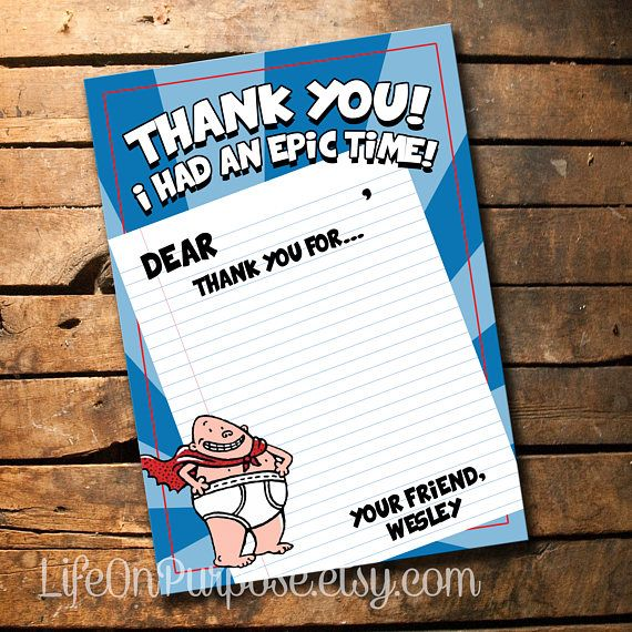 Captain Underpants Thank You Card