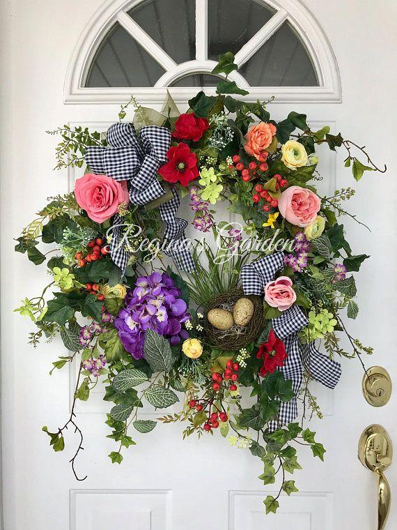 Spring Wreath-Hydrangea Wreath-Spring Door Wreath-Easter Wreath-Farmhouse Decor-French Country Wreath-Bird's Nest Wreath-Bird Lover's Decor
