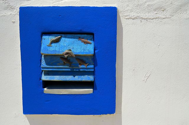 Small blue window. Lipsi island, Dodecanese, Greece