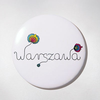 Fridge Magnet - Folk Warsaw. The colourful souvenir from Warsaw for your fridge or magnetic board. $10 zł.