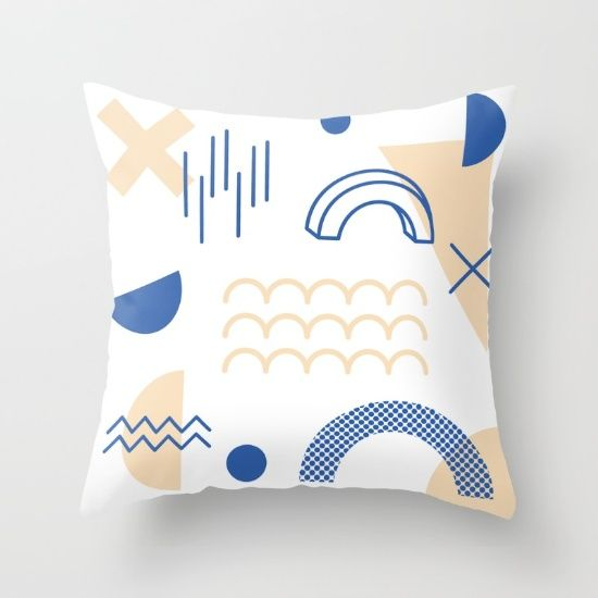 Blue Nude Abstract Throw Pillow