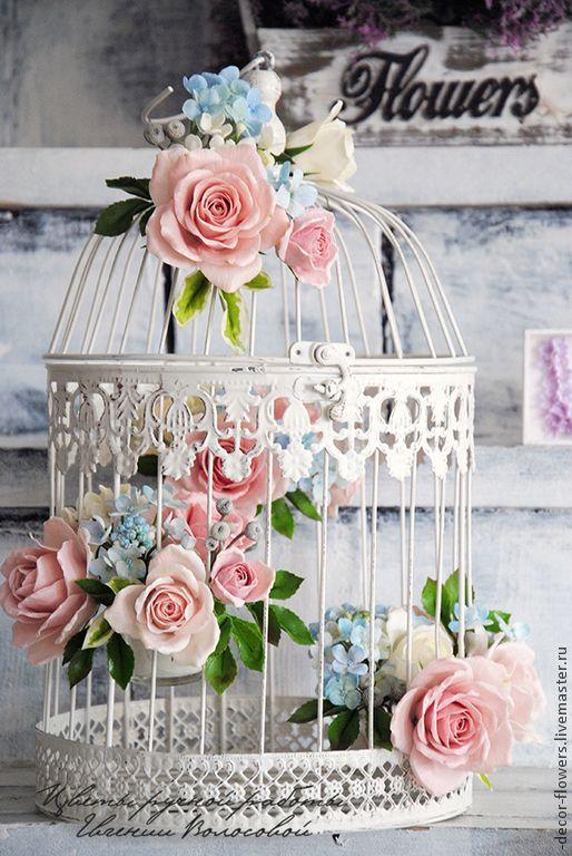 Купить Декоративная клетка с цветами ручной работы. Шебби шик. - кремовый, цветы, розы