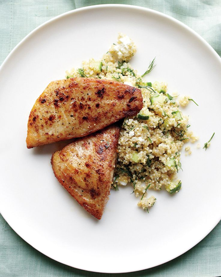 Tilapia and Quinoa with Feta and Cucumber | Martha Stewart Living - Channel the flavors of the Mediterranean in this lean fish and quinoa meal.