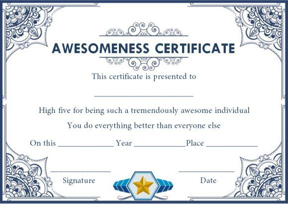 Certificate Of Awesomeness Template Document Certificate Of Recognition Template Free Printable Certificates Printable Certificates