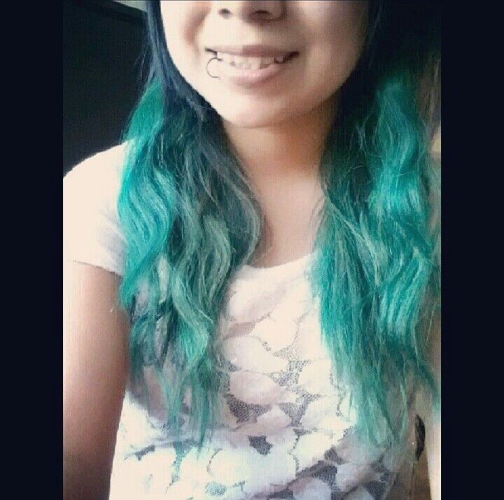 I dyed my bottom half of my hair last summer Twisted Teal from RAW hair dye #dyed #hair #ideas #teal