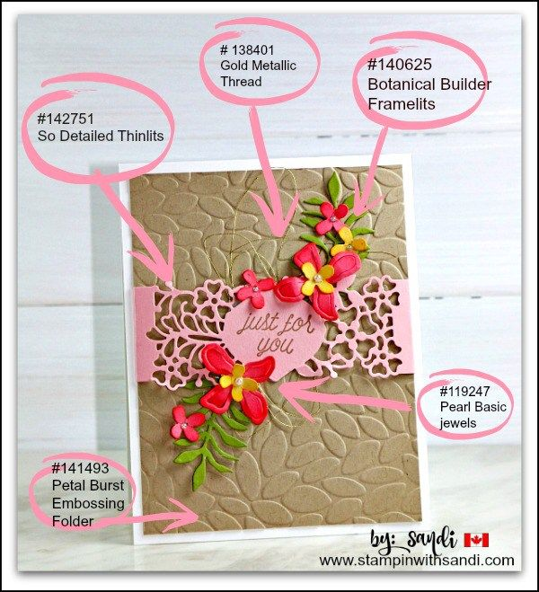 So In Love and Botanical Builder card by Sandi @ stampinwithsandi.com  Click on the image to visit my blog for the card recipe and to order supplies from my Canadian Online Stampin Up Store.
