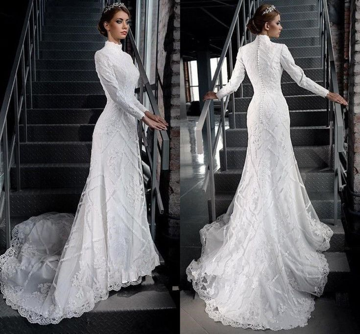 Vintage Muslim Wedding Dress High Neck Long Sleeve Bridal Gowns Sweep Train 2016